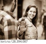 guy trying to get acquainted with girl. Стоковое фото, фотограф Яков Филимонов / Фотобанк Лори