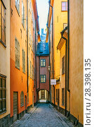 Улочка старого горда. Стокгольм. Швеция (2018 год). Редакционное фото, фотограф Сергей Афанасьев / Фотобанк Лори