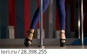 Купить «Beautiful female legs in high-heeled shoes dancing on a pole dance in a studio», видеоролик № 28398255, снято 22 июля 2019 г. (c) Константин Шишкин / Фотобанк Лори