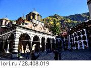 Купить «Church of the Virgin in Rila Monastery, Rila mountains, Bulgaria.», фото № 28408019, снято 27 октября 2017 г. (c) age Fotostock / Фотобанк Лори