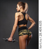 Купить «Beautiful sports fitness woman with dumbbells, beautiful buttocks», фото № 28409635, снято 8 мая 2018 г. (c) Restyler Viacheslav / Фотобанк Лори