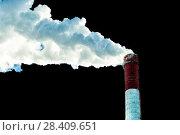 Купить «Factory plant smoke stack over black background. Energy generation and air environment pollution industrial scene.», фото № 28409651, снято 18 декабря 2016 г. (c) Евгений Ткачёв / Фотобанк Лори