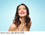 Купить «beautiful smiling young woman with red lipstick», фото № 28410559, снято 5 января 2018 г. (c) Syda Productions / Фотобанк Лори
