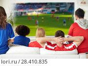 Купить «friends or football fans watching soccer at home», фото № 28410835, снято 14 августа 2016 г. (c) Syda Productions / Фотобанк Лори