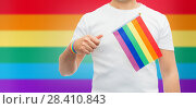 Купить «man with gay pride rainbow flag and wristband», фото № 28410843, снято 2 ноября 2017 г. (c) Syda Productions / Фотобанк Лори
