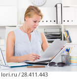 Купить «portrait of business woman writing and working with laptop in office», фото № 28411443, снято 15 июня 2017 г. (c) Яков Филимонов / Фотобанк Лори