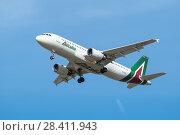 Купить «Airbus A320-200 of Airline Alitalia. Board number EI-DSL. Before landing in the Pulkovo Airport», фото № 28411943, снято 8 мая 2018 г. (c) Ольга Визави / Фотобанк Лори