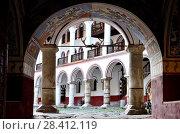 Купить «East entry to Rila monastery, Bulgaria.», фото № 28412119, снято 27 октября 2017 г. (c) age Fotostock / Фотобанк Лори