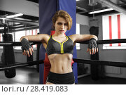 Купить «Sexy boxing girl stands leaned on ropes of competition ring.», фото № 28419083, снято 25 апреля 2018 г. (c) Restyler Viacheslav / Фотобанк Лори