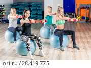 Купить «group session with a coach on the balls with dumbbells, shooting in the gym», фото № 28419775, снято 29 января 2018 г. (c) Константин Лабунский / Фотобанк Лори