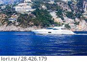 Вид на  Conca dei Marin  на побережье Амальфи, вид с моря, Кампания, Италия (2017 год). Редакционное фото, фотограф Николай Коржов / Фотобанк Лори
