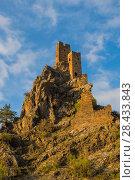 Купить «Ингушетия. Вовнушки. Сторожевые башни на закате», эксклюзивное фото № 28433843, снято 24 апреля 2018 г. (c) Литвяк Игорь / Фотобанк Лори