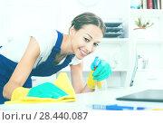 Купить «woman cleaner in office», фото № 28440087, снято 18 января 2019 г. (c) Яков Филимонов / Фотобанк Лори