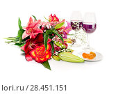 Bouquet of diverse flowers, wine and kumquat close-up on a white background. Стоковое фото, фотограф Татьяна Ляпи / Фотобанк Лори