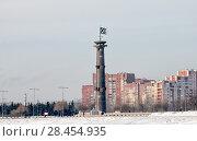 Купить «Колонна-маяк в парке 300-летия Петербурга. Санкт-Петербург», фото № 28454935, снято 15 февраля 2018 г. (c) Румянцева Наталия / Фотобанк Лори