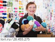 Купить «Woman with accessories for needlework», фото № 28455275, снято 10 мая 2017 г. (c) Яков Филимонов / Фотобанк Лори