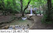 Купить «Природный Крымский водопад и река в лесу», видеоролик № 28467743, снято 29 мая 2017 г. (c) Яна Королёва / Фотобанк Лори