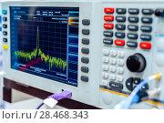 Купить «Fragment of a modern digital oscilloscope. Scientific measuring equipment.», фото № 28468343, снято 25 октября 2017 г. (c) Андрей Радченко / Фотобанк Лори