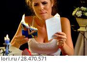Купить «Wedding memories. Broken heart woman. Family break up.», фото № 28470571, снято 21 июля 2018 г. (c) Gennadiy Poznyakov / Фотобанк Лори