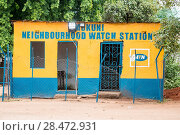 Front exterior Neighborhood Watch Station which is used as local jail, of Mukuni Village, Zambia. Стоковое фото, фотограф Edwin Remsberg / age Fotostock / Фотобанк Лори