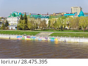 Купить «Omsk.Russia. A view of the Om River embankment. Season of high water», фото № 28475395, снято 21 мая 2018 г. (c) Круглов Олег / Фотобанк Лори