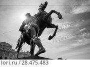 """Купить «Скульптура """"Юноша, берущий коня под уздцы"""" на Аничковском мосту через реку Фонтанку, созданная русским скульптором бароном Петром Клодтом», фото № 28475483, снято 18 августа 2017 г. (c) Pukhov K / Фотобанк Лори"""