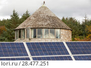 Купить «Green house powered by wind and solar power n remote off grid community. Scoraig, Scotland, October 2013.», фото № 28477251, снято 14 августа 2018 г. (c) Nature Picture Library / Фотобанк Лори