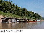 Boats in River Mekong, Laos (2016 год). Стоковое фото, фотограф Keith Levit / Ingram Publishing / Фотобанк Лори