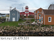 Купить «Houses in fishing village, Cheticamp, Cabot Trail, Cape Breton Island, Nova Scotia, Canada», фото № 28479531, снято 11 июня 2016 г. (c) Ingram Publishing / Фотобанк Лори