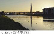 Купить «Skyscraper Lakhta Center, bridge of west-speed diameter road, Grebnoy channel», видеоролик № 28479795, снято 19 мая 2018 г. (c) Ирина Мойсеева / Фотобанк Лори
