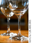 Купить «Close up picture of empty wine glasses at home», фото № 28480083, снято 3 мая 2014 г. (c) Ingram Publishing / Фотобанк Лори