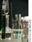 Купить «Test tubes, flask and glassware closeup», фото № 28480235, снято 16 мая 2014 г. (c) Ingram Publishing / Фотобанк Лори