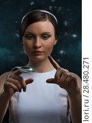 Купить «People of the future. Pretty woman against cosmic background», фото № 28480271, снято 17 мая 2014 г. (c) Ingram Publishing / Фотобанк Лори