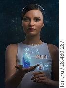 Купить «Woman holding wearable gadget. New technologies. Wireless tools. Future communications and social media concept.», фото № 28480287, снято 17 мая 2014 г. (c) Ingram Publishing / Фотобанк Лори