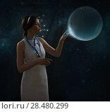 Купить «Healthcare, medical and future technology concept - female doctor with virtual interface», фото № 28480299, снято 17 мая 2014 г. (c) Ingram Publishing / Фотобанк Лори