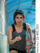 Купить «Healthy lifestyle beautiful woman running at the city urban background», фото № 28480583, снято 22 июня 2014 г. (c) Ingram Publishing / Фотобанк Лори