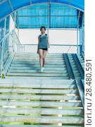 Купить «Healthy lifestyle sports woman walking on stairs of city bridge», фото № 28480591, снято 22 июня 2014 г. (c) Ingram Publishing / Фотобанк Лори
