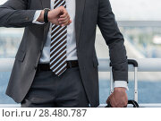 Купить «Unrecognizable businessman in urban environment of airport with suitcase», фото № 28480787, снято 20 июля 2014 г. (c) Ingram Publishing / Фотобанк Лори