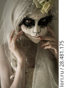 Купить «Halloween witch. Beautiful woman wearing santa muerte mask and wedding dress. Dead widow in grief», фото № 28481175, снято 21 сентября 2014 г. (c) Ingram Publishing / Фотобанк Лори