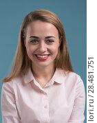 Купить «Business woman portrait on blue background», фото № 28481751, снято 19 ноября 2014 г. (c) Ingram Publishing / Фотобанк Лори