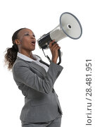 Купить «African business woman speaking by megaphone isolated on white background», фото № 28481951, снято 19 ноября 2014 г. (c) Ingram Publishing / Фотобанк Лори