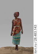 Купить «Attractive young African fashion model standing on sand on gray studio background», фото № 28483143, снято 1 декабря 2014 г. (c) Ingram Publishing / Фотобанк Лори