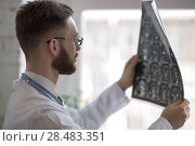 Купить «Closeup portrait of intellectual man healthcare personnel with white labcoat, looking at brain x-ray radiographic image, ct scan, mri, clinic office background. Radiology department», фото № 28483351, снято 5 июня 2015 г. (c) Ingram Publishing / Фотобанк Лори
