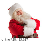 Купить «Portrait of happy Santa Claus isolated on white background looking away», фото № 28483627, снято 17 января 2013 г. (c) Ingram Publishing / Фотобанк Лори