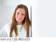 Купить «Portrait of a beautiful college student at campus daydreaming», фото № 28483631, снято 13 апреля 2013 г. (c) Ingram Publishing / Фотобанк Лори