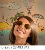 Купить «Young woman dreaming about her summer vacation on tropical island», фото № 28483743, снято 18 января 2014 г. (c) Ingram Publishing / Фотобанк Лори