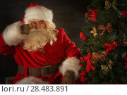 Купить «Santa Claus decorating Christmas tree in dark room», фото № 28483891, снято 31 января 2013 г. (c) Ingram Publishing / Фотобанк Лори