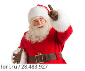 Купить «Santa Claus gesturing his hand isolated over white background. Presenting something», фото № 28483927, снято 17 января 2013 г. (c) Ingram Publishing / Фотобанк Лори