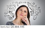 Купить «Young pretty woman thinking of her plans closeup face portrait and sketches overhead», фото № 28484195, снято 17 ноября 2012 г. (c) Ingram Publishing / Фотобанк Лори