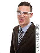 Купить «Portrait of young business man showing the tongue over white background», фото № 28484283, снято 2 февраля 2013 г. (c) Ingram Publishing / Фотобанк Лори